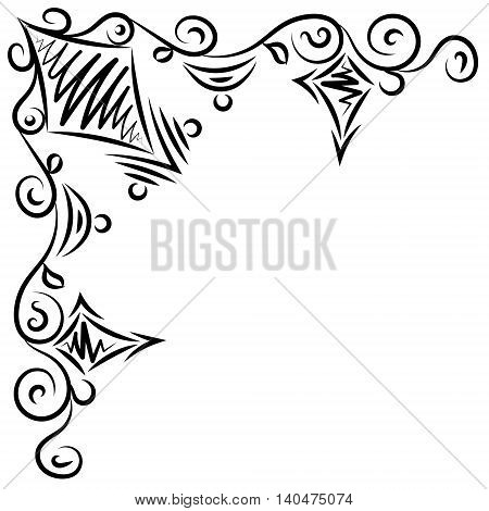 Doodle abstract black handdrawn frame corner on the white background