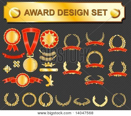 award design set - medals, badges and laurels