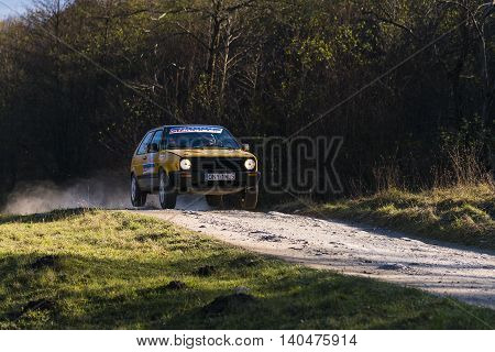 lLviv Ukraine - November 1 2015: Unknown racers on the car brand Volkswagen Golf overcome the track at the annual Rally of Galicia near the city of Lviv Ukraine