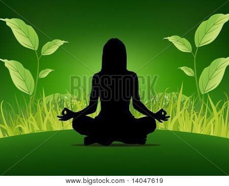 yoga poster - woman sitting on the grass background