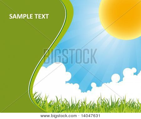 green nature background with blue sky
