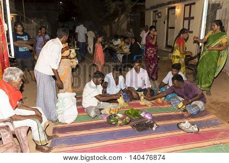 Pondicherry, Tamil Nadu, India - May 11, 2014 : Once month before birth of the baby, families celebrate the soon birth, with village people, offerings, ceremony, gifts