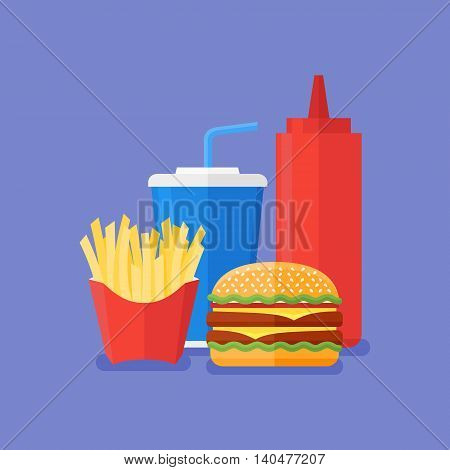 Fast food. Burger, french fries, soda takeaway and ketchup on blue background. Flat style vector illustration.