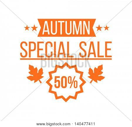 Autumn sale Logotype. Special offer badge or label and ribbon, element with leaves, banner. Vector Illustration.