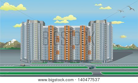 Multi-storey modern house in the vector. The modern architecture. Landscape. High rise mountains in the background. Vector illustration