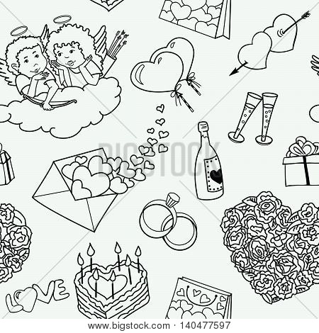 Seamless vector pattern with valentine's doodles line art