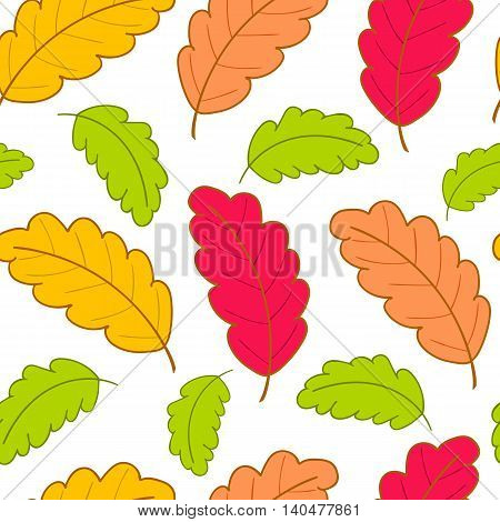 Bright autumn seamless pattern with colorful oak leaves on a white background.Vector illustration.Design for web pages, cloth, textile, wrapping paper, scrapbooking, Wallpapers.