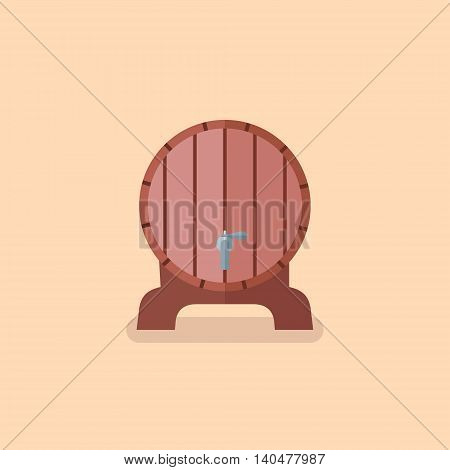 Wooden barrel of beer isolated on yellow background. Flat style vector illustration.