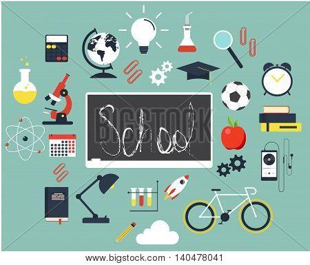 Back to school flat design background vector illustration
