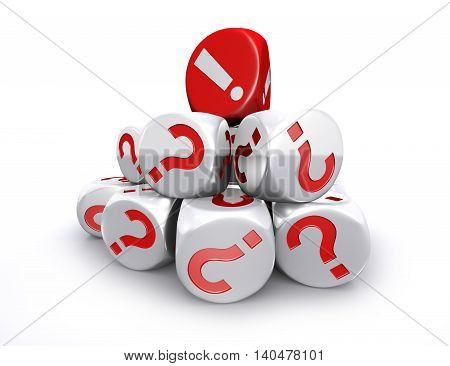 3D illustration of Red exclamation mark dice on top of white question mark dices stack on white background