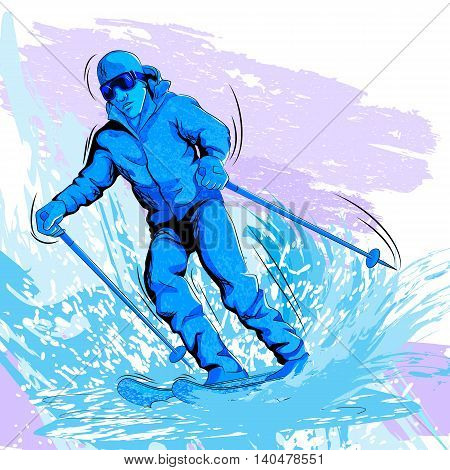 Concept of sportsman Skiing on snow. Vector illustration
