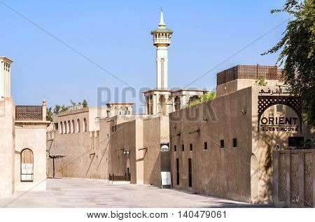 Dubai, UAE - January 06, 2012: View of Al Bastakiya historical district. Established at the end of the 19th century, now is an engaging neighborhood full of merchant's houses, art galleries and cafes