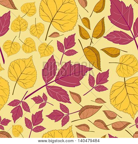 Beautiful bright autumn seamless pattern with colorful leaves on a yellow background.Vector illustration.Design for web pages, cloth, textile, wrapping paper, scrapbooking, Wallpapers.