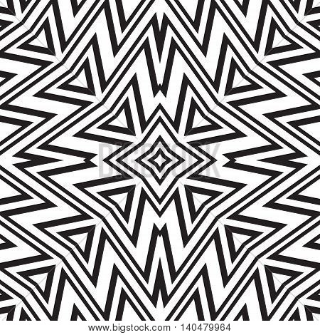 Geometric seamless pattern. Simple regular background. Vector illustration with zigzag black and white