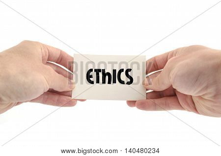 Ethics text concept isolated over white background