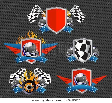 set of racing signs and symbols