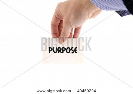 Purpose text concept isolated over white background