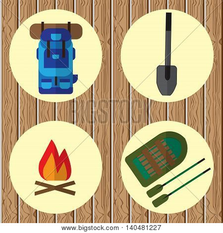 Vector icons on the theme of the campaign. On wooden background with yellow circles icon backpack inflatable boats and oars shovels and campfire