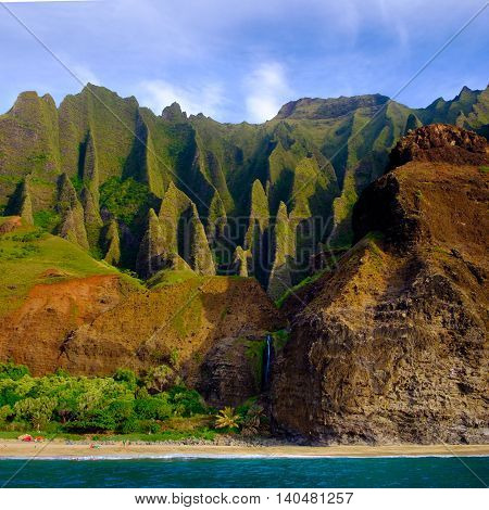 Landscape View Of Na Pali Cliffs And The Beach, Kauai