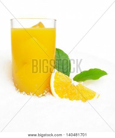 Orange Juice With Ice Cubes And Leaves On Ice On White