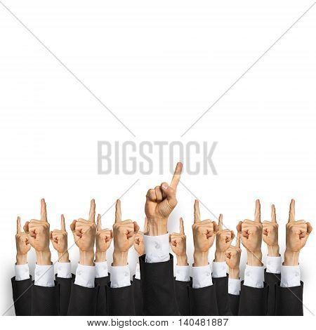 Group of hands of businesspeople showing gestures