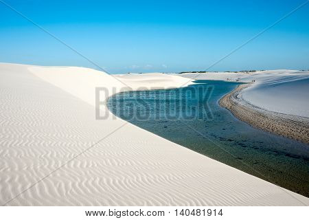 Lencois Maranhenses National Park Barreirinhas Brazil low flat flooded land overlaid with large discrete sand dunes with blue and green lagoons