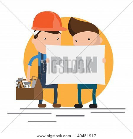 Cool flat design vector characters on building worker with hard hat helmet, and tool box and civil engineer specialist holding plan