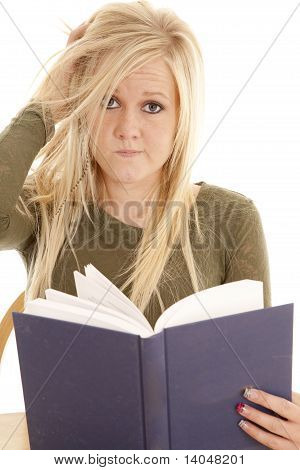 Woman Frazzled With Book