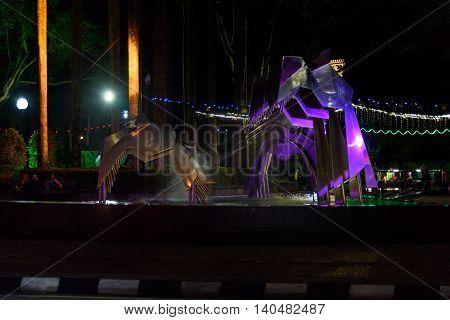 Hornbill Fountain In Kuching At Night