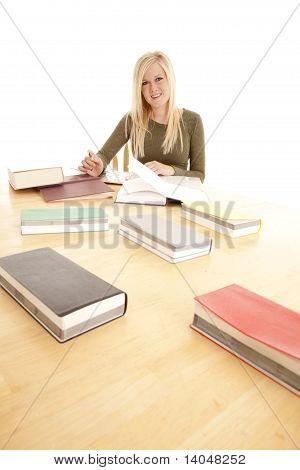 Woman Happy Big Table Study.