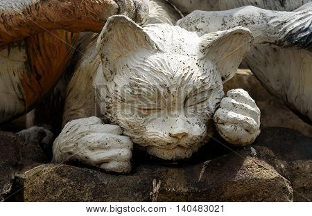 Cats Monument At Center Of Kuching
