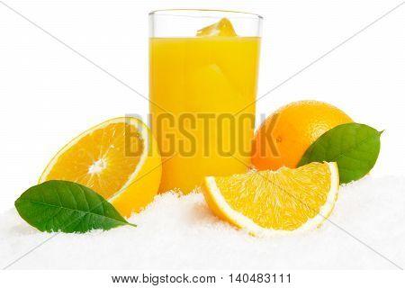 Orange Juice,fruit,ice Cubes And Leaves On Ice On White