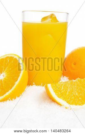 Cropped Image Of Orange Juice,ice Cubes And Fruit On Ice On White
