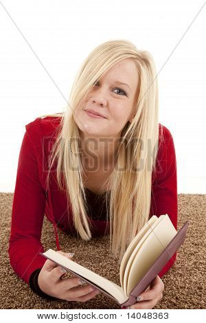 Woman Laying Facing With Book