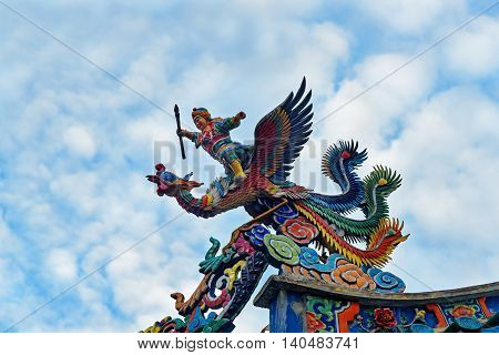 Dragon On The Roof Of Tua Pek Kong Chinese Temple In Kuching
