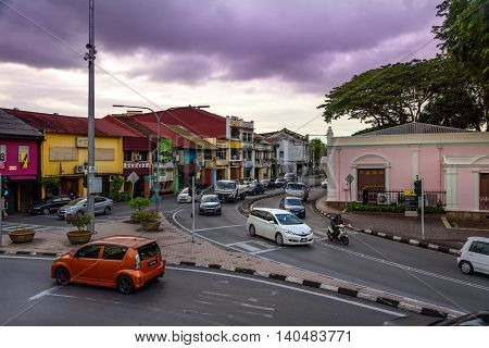On The Street In Kuching At Evening