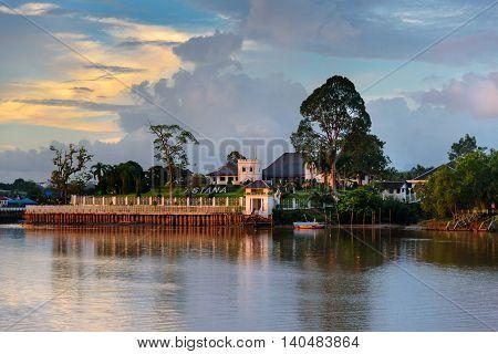 Palace Astana On The North Bank Of Sarawak River At Sunset