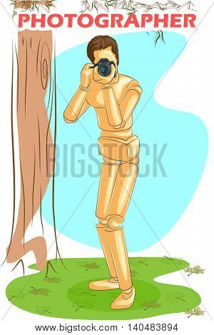 Wooden human mannequin Photographer shooting with camera. Vector illustration
