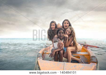 Girls on a little boat