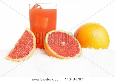 Grapefruit Juice,ice Cubes With Grapefruits On Ice On White
