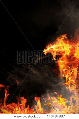 Abstract red fiery angry dragon in dark background