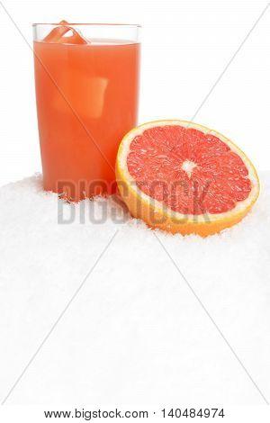 Grapefruit Juice,ice Cubes With Grapefruit On Ice On White