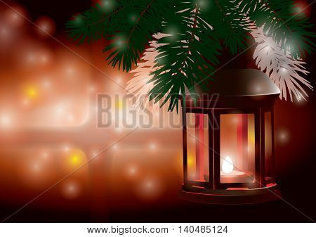 Winter lantern -christmas scene in the snowy night