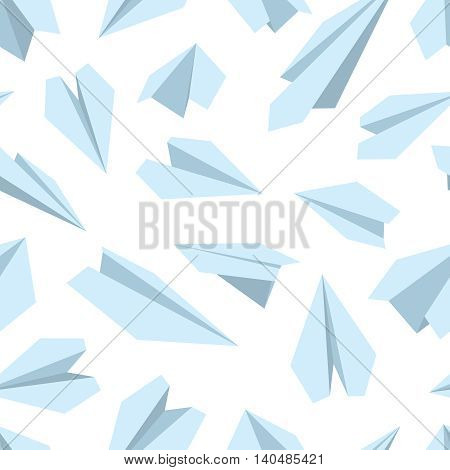 vector seamless pattern with Origami plane collection. Handmade paper plane isolate on white background