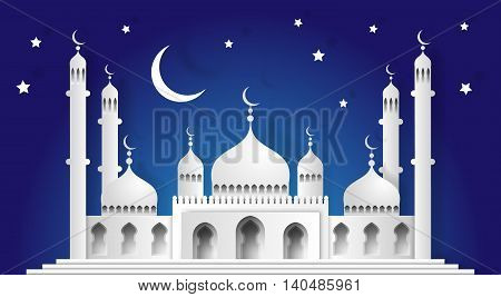 3D Mosque And Crescent Moon With Stars