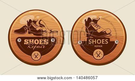 Vector illustration of advertisement wood panels for shoes repair workshop