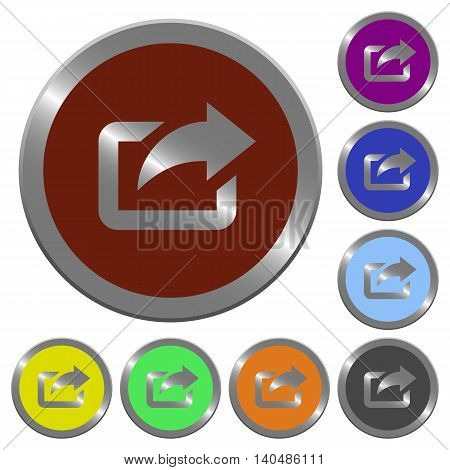 Set of color glossy coin-like export buttons.