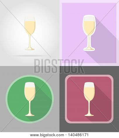 champagne in a glass flat icons vector illustration isolated on background