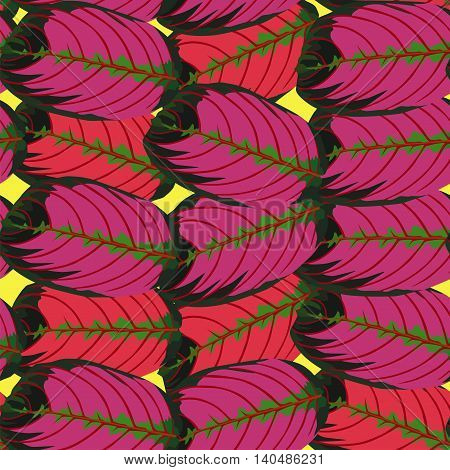Trendy seamless vector repeat pattern of red begonia leaves on a yellow background. Hand drawn nature tropic foliage illustration.