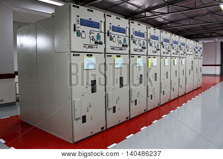 Electrical switchgear in control room in the substation